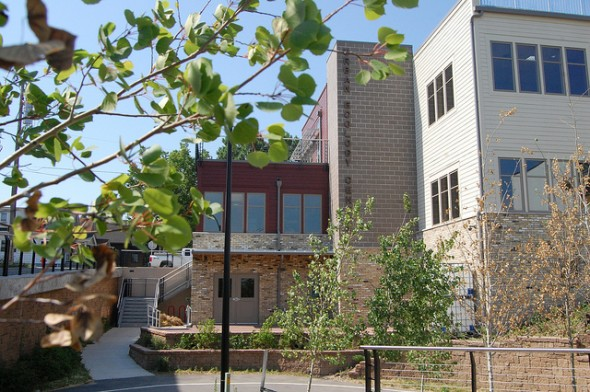 View from the back of the Urban Ecology Center's Menomonee Valley location. (Photo by Alec Brooks)