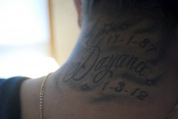 Brenda Garcia's first tattoo in memory of her sister. Photo by James Gutierrez.