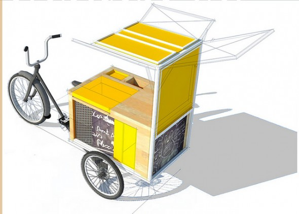 A design rendering of the Layton Boulevard West Neighbors mobile bike hub. (Image by Nicholas Allen and Ethan Skeels)