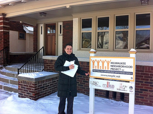 Kathleen Patron, Milwaukee Rising's lead organizer, visits a rehabbed house at 2356 N. 46th St. (Photo by Brendan O'Brien)