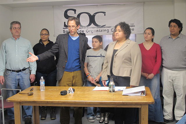 Steve Fendt, executive director of the SOC, gathered with Rep. JoCasta Zamarippa and members of the community to denounce a measure to end residency requirements for city workers. (Photo by Edgar Mendez)