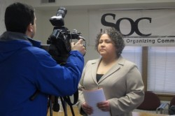 Rep. JoCasta Zamarippa prepares for an interview. (Photo by Edgar Mendez)