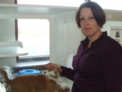 "Jessica Huber visits with Henry in his ""cat condo"" in the MADACC lobby. Photo by Peggy Schulz."