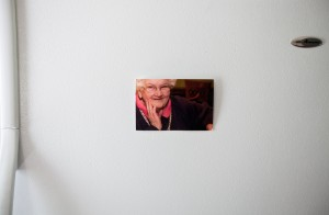 A photo of Mary Pietrowski hangs on her son's refrigerator in Rochester, Wis. She fell and broke her hip at Sunrise Care Center in Milwaukee in January 2010. The nursing home did not report the incident to the Wisconsin health department, as required by law, and the state did not investigate the injury for more than seven months, the Wisconsin Center for Investigative Journalism found. The state later determined that Pietrowski fell due to negligence. Lukas Keapproth/Wisconsin Center for Investigative Journalism