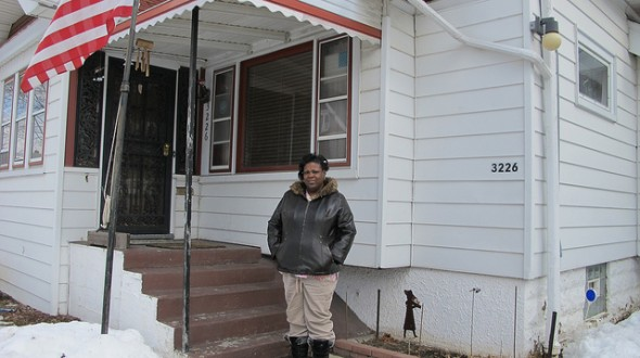 Homeowner Tanyialisa McDowell is the first applicant to be granted a home repair loan under the Borchert Field TIN program. (Photo by Andrea Waxman)