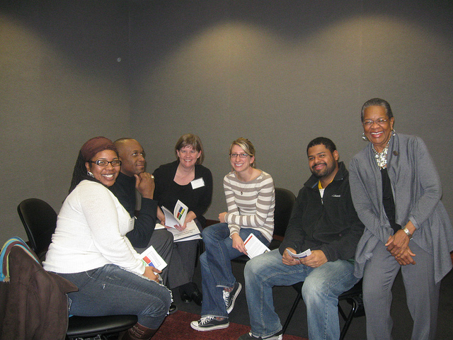 Neighborhood Leadership institute participants Bregetta Wilson, Duril White, Cindy Thompson, Tanya Fonseca, and Dwight Williamson meet with Dr. Jeanette Mitchell (right). (Photo by Crystal Ellis)