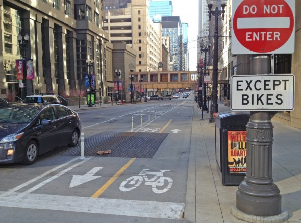 Dearborn Cycle Track. Photo by the Bike Czar.