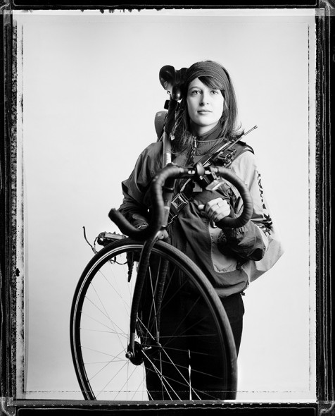 Nicole, a fashion designer for Kohls still bikes to work. Pictured here in her professional workwear back in 2004. Photo by Peter DiAntoni
