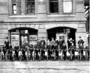 Milwaukee's first bike messengers, outside the current location of the Swinging Door, still a hangout for hard working professionals.