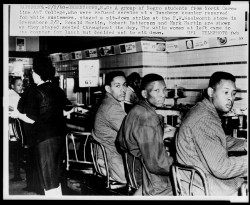 Her brother Mark Martin and cousin Ronald Martin in the 1960 lunch counter sit-in. Photo from the Library of Congress.