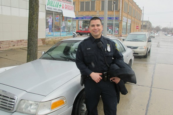 Officer Jesus Gloria became the Milwaukee Police Department's first fully bilingual Community Liaison Officer in 2006. (Photo by Edgar Mendez)