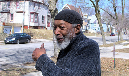 Garfield Newble was pleased to hear that Habitat for Humanity is focusing on Washington Park, where he has lived for many years. (Photo by Andrea Waxman)