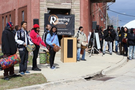 Participants get into the music at the Running Rebels anti-violence rally. (Photo By LouRawls Burnett)