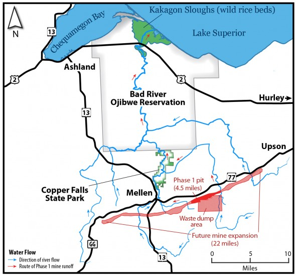 A view of the waterways and Bad River Ojibwe Reservation impacted by the proposed mine. Map by Carl Sack, Wisconsin Network for Peace and Justice.