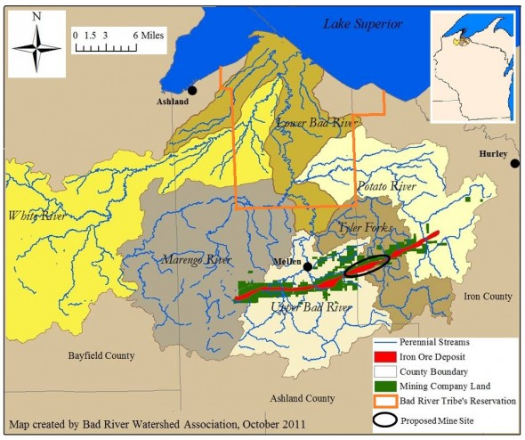 A view of the impacted waterways. Map courtesy of the Bad River Watershed Association.