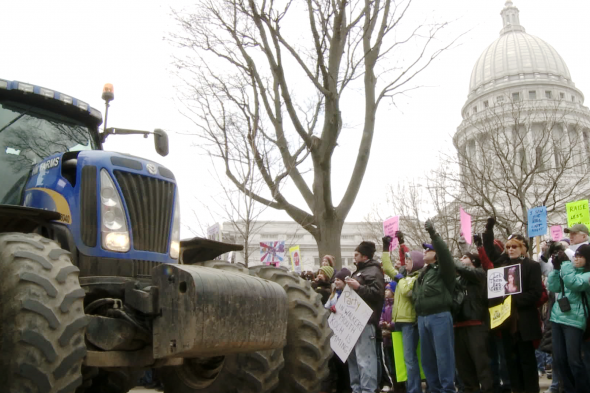Protests in Madison. Photo courtesy of Elsewhere Films.