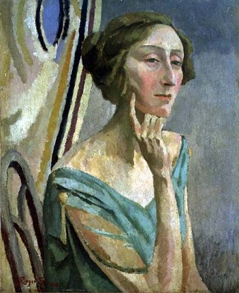 Edith Sitwell, Roger Fry portrait from 1918. Public domain via Wikipedia Commons.