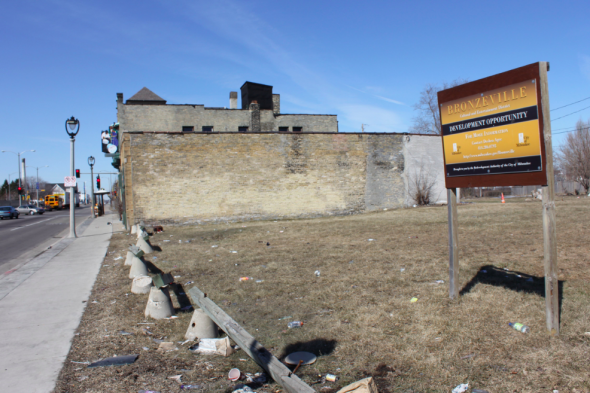 The city has offered up 230 feet of frontage on West North Avenue for redevelopment, but no bids have been submitted for purchasing the property. (Photo by Mark Doremus)