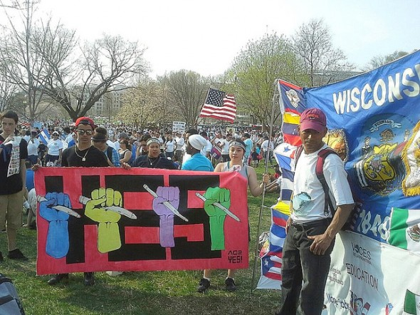 Members of Voces de la Frontera's Youth Empowered in the Struggle (YES) group take part in the National Rally for Citizenship in Washington, D.C. (Photo courtesy of Voces de la Frontera)