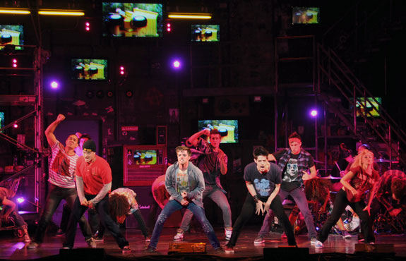 Thomas Hettrick (Tunny), Alex Nee (Johnny) and Casey O'Farrell (Will) in AMERICAN IDIOT [photo: John Daughtry]