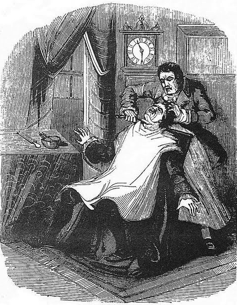 "Sweeney Todd, in an illustration from ""The String of Pearls,"" the 1846 serial novel."