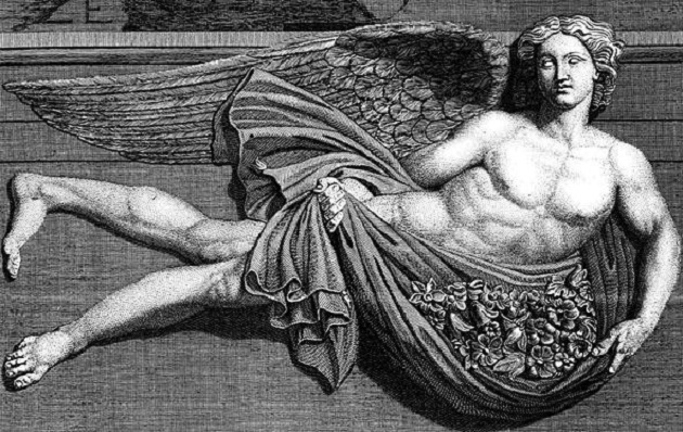 Zephyrus, the Greek god of the fructifying spring winds.