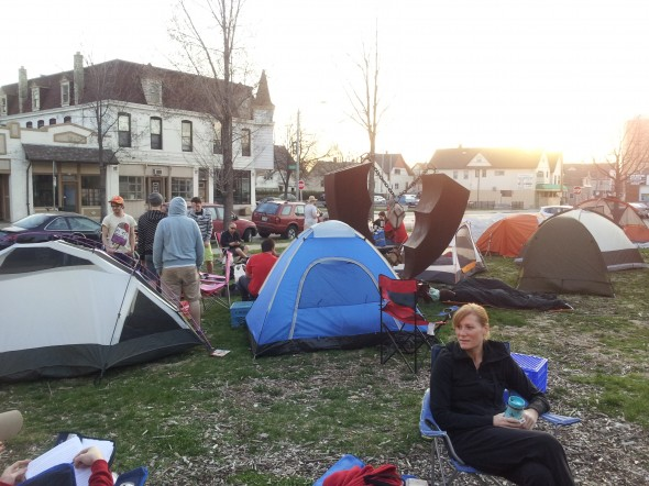 Camping out for a spot in the Riverwest 24. Photo by Sarah Young.