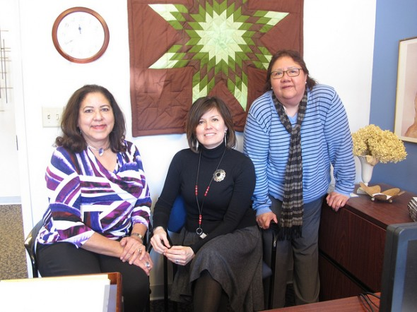 First Nations Women's Professional Leadership Group members, (from left) Judy Dordel, Jacqueline Schram and Richanda E. Kaquatosh (Photo by Courtney Perry)