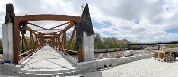 The bridge, still under construction, to Mitchell Park Domes from the new park the Menomonee Vally.