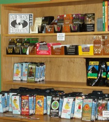 Fair trade chocolate, such as these items available at Four Corners of the World, is a popular item all year long.  Photo by Peggy Schulz.