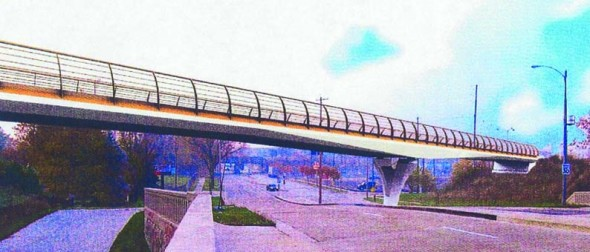 A rendering of the future KK River Trail bridge over Chase Avenue.