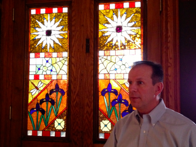 Stained glass windows beautify Andrew Parker's bed and breakfast. (Photo by Aaron Maybin)