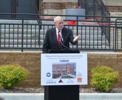 Mayor Tom Barrett addresses the gathering. (Photo by Sue Vliet)