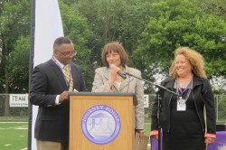 Susan Lloyd, executive director of the Zilber Family Foundation, accepts an award from Charles Brown, Journey House director of youth programs and Dr. Michele Bria, Journey House executive director. (Photo by Edgar Mendez)