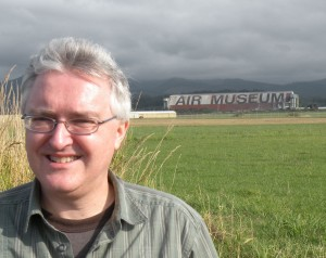 Jeff Neal in front of the Tillamook Air Museum. Photo by Robert Bundy.