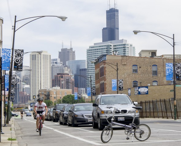 The folding bike also means I have a way to get around once I get to Chicago. Thanks to all the great protected bike lanes, like this one on Milwaukee Ave., Chicago is a great place to get around by bicycle. Why can't Milwaukee get protected bike lanes?