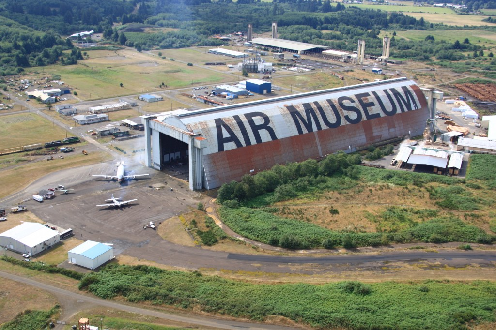 Oregon's Tillamook Air Museum, housed in Hanger B, a former military blimp hangar, the largest clear-span wooden structure in the world.