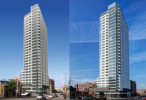 Rendering (left), and finished building (right).