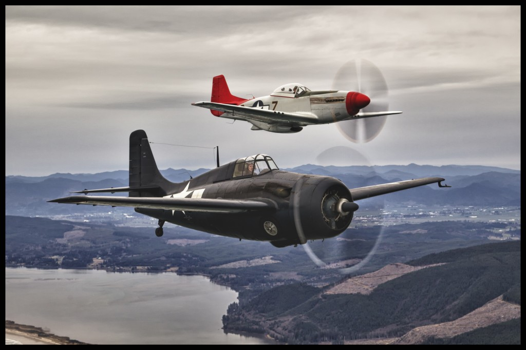 A Wildcat and a Mustang from the Tillamook Air Museum take to the skies over the Oregon coast.