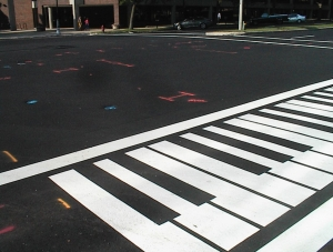 New street, with fluorescent paint.