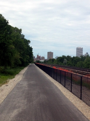 Trail facing North toward Downtown. Photo by Joe Kelly.
