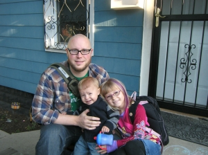 First day of school, 2009. Dan's daughter attends Vieau School on 5th/National.