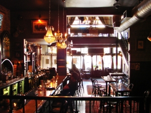 A view of the whole bar from the parlour.