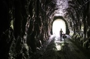 The Holy Grail of bike trails. Inside the tunnels it is cool, damp, wet, and very dark.