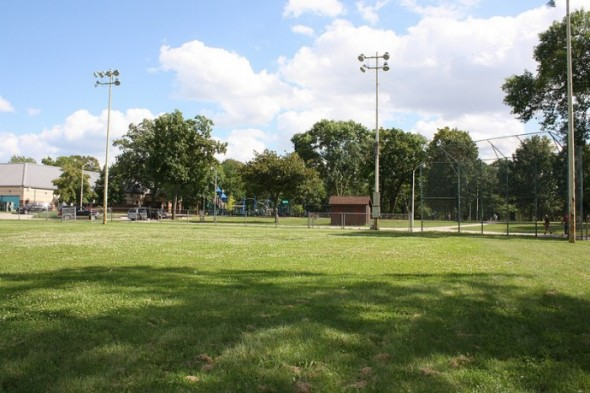 The baseball diamond at Sherman Park is overgrown with grass now, but it will become the home field for the Boys and Girls Club of Greater Milwaukee in 2014. (Photo by Maggie Quick)