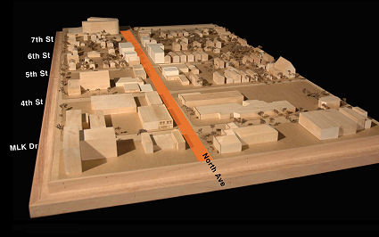 A conceptual model of Bronzeville today, created for the City of Milwaukee's redevelopment plan.