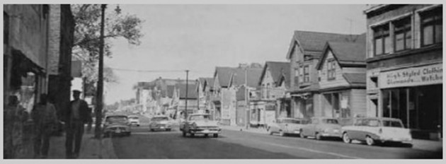 View of Bronzeville's Walnut Street in the 1950s. Bronzeville, Street View, photo courtesy of Black Historical Society.
