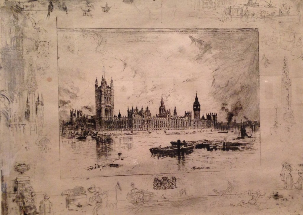 Felix-Hilaire Buhot's etching of Westminster Palace is one of the more unusual works in the exhibition. Photo by the author.