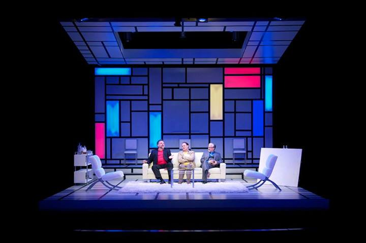 """""""'Art's'"""" set design, meant to evoke the works of Piet Mondrian, is as much a star as the three actors who walk across it."""