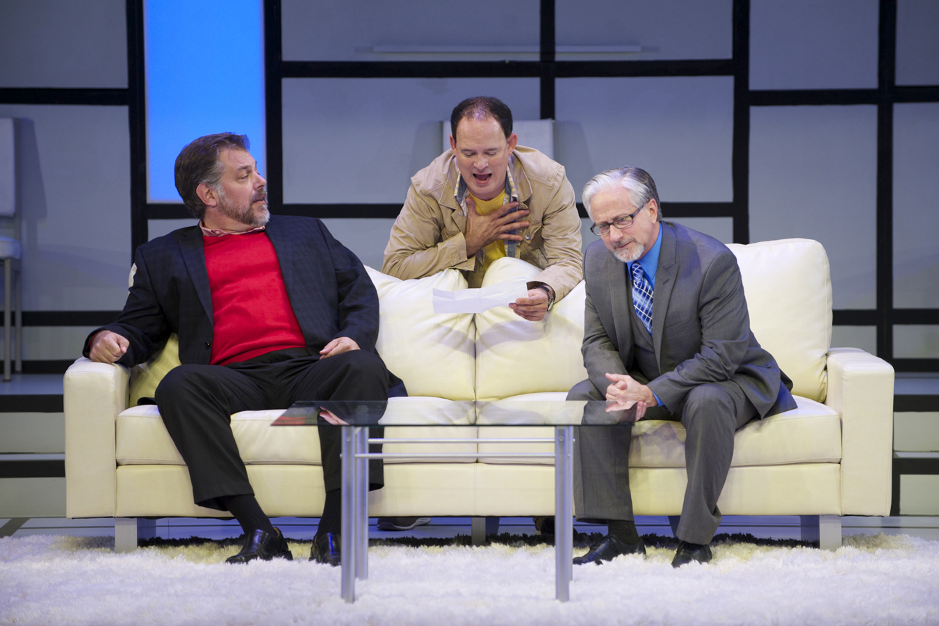 """""""'Art'"""" depicts three friends whose relationships are collapsing: Marc (Brian Mani, L), Yvan (Tom Klubertanz, C), and Serge (C. Michael Wright, R). All photos credit Mark Frohna."""